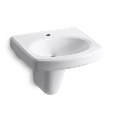 Pinoir Wall-Mount Bathroom Sink with Single Faucet Hole by Kohler