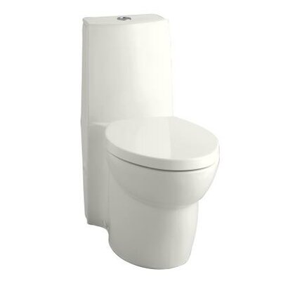 Saile Skirted One-Piece Elongated Dual-Flush Toilet with Top Actuator and Saile Quiet-Close Toilet Seat with Quick-Re... Product Photo