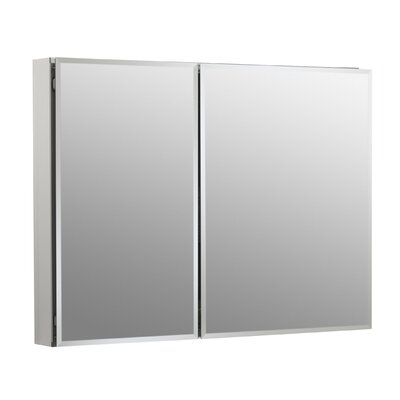 "35"" W x 26"" H Aluminum Two-Door Medicine Cabinet with Mirrored Doors, Beveled Edges Product Photo"