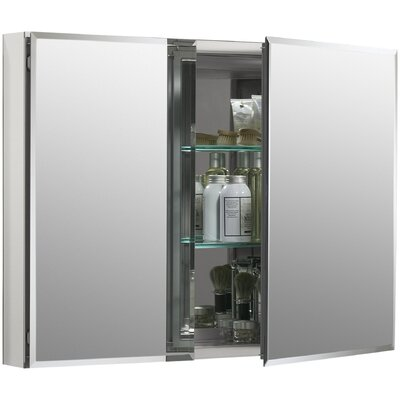 "Kohler 35"" W x 26"" H Aluminum Two-Door Medicine Cabinet with Mirrored Doors, Beveled Edges"