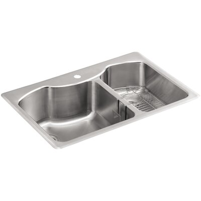 "Octave 33"" x 22"" x 9-5/16"" Top-Mount Large/Medium Double-Bowl Stainless Steel Kitchen Sink with Single Faucet Hole Product Photo"