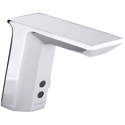 """Kohler Geometric Single-Hole Touchless Hybrid Energy Cell-Powered Commercial Bathroom Sink Faucet with Insight Technology, Temperature Mixer and 6-3/4"""" Spout"""