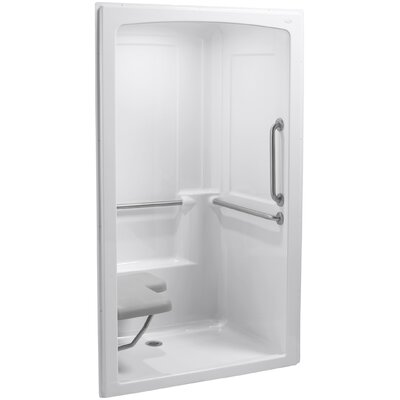 Freewill Barrier-Free Shower Module with Brushed Stainless Steel Grab Bars and Seat At Left Product Photo