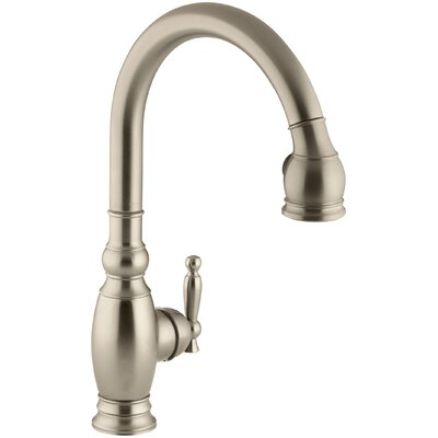 """Kohler Vinnata Single-Hole or Three-Hole Kitchen Sink Faucet with Pull-Down 16-5/8"""" Spout and Lever Handle"""