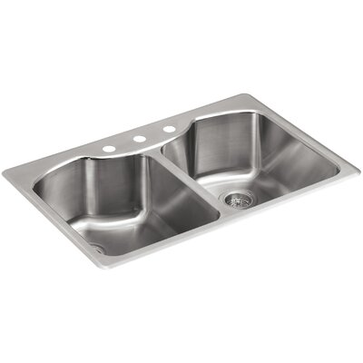 ... Top-Mount Double-Equal Stainless Steel Kitchen Sink with Three-Faucet