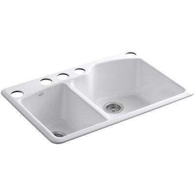 "Kohler Wheatland 33"" x 22"" x 9-5/8"" Under-Mount Large/Medium Double-Bowl Kitchen Sink with Oversize 5 Faucet Holes"