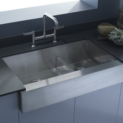 """Vault 35-1/2"""" x 21-1/4"""" x 9-5/16"""" Under-Mount Smart Divide Large/Medium Double-Bowl Kitchen Sink, Stainless Steel wit... Product Photo"""