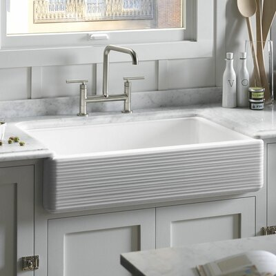"Whitehaven 35.69"" x 21.56"" Under Mount Single Bowl Kitchen Sink with Tall Apron Product Photo"