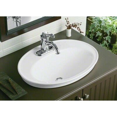 Serif Drop-In Bathroom Sink with Single Faucet Hole Product Photo