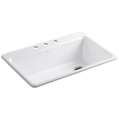 """Kohler Riverby 33"""" x 22"""" x 9-5/8"""" Top-Mount Single-Bowl Kitchen Sink with Accessories"""