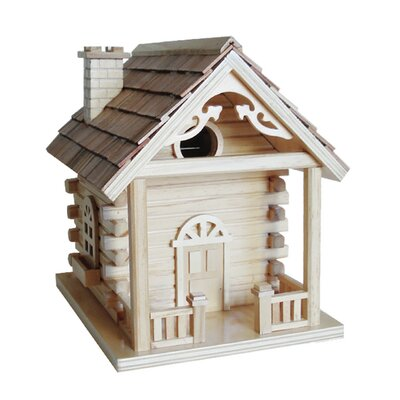 Log Cabin Birdhouse with Gingerbread