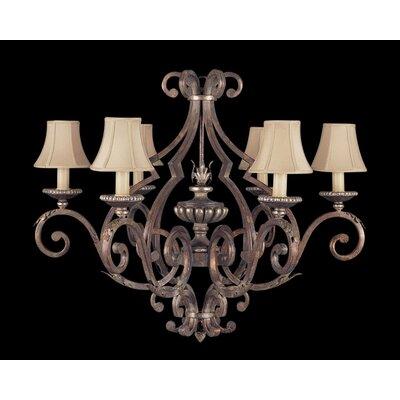 Fine Art Lamps Stile Bellagio Six Light Chandelier in Tortoised Leather Crackle