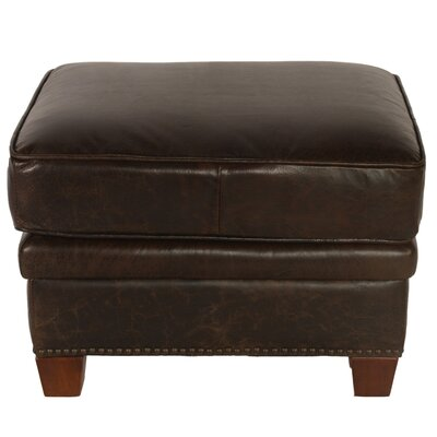 Brittan Leather Ottoman by Lazzaro Leather