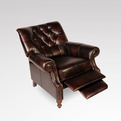 Philip Tufted Back Top Grain Leather Recliner by Lazzaro Leather