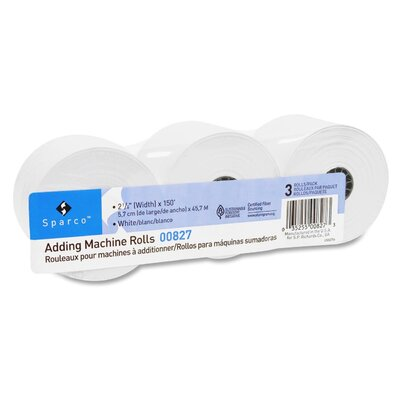 """Sparco Products Adding Machine Rolls, 2-1/4""""x150', 3/PK, White"""