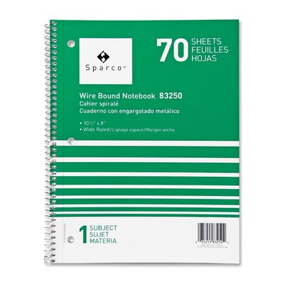 """Sparco Products Notebooks, Wirebound, 1 Subject, 10-1/2""""x8"""", Wide Ruled, 70 SH"""