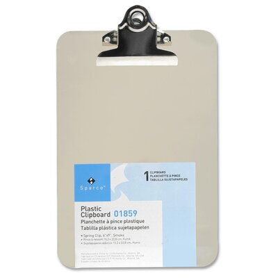 "Sparco Products Transparent Plastic Clipboard, 6""x9"""