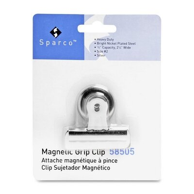 "Sparco Products Bulldog Clip, Magnetic Back, Size 2, 2-1/4""W, 1/2"" Cap, SR"