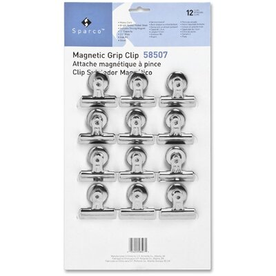 """Sparco Products Bulldog Clip, Magnetic Back, Size 2, 2-1/4""""W, 1/2""""Cap, 12/BX, SR"""