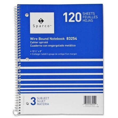 "Sparco Products Notebooks, Wirebound, 3 Subject, 10-1/2""x8"", College Ruled, 120SH"