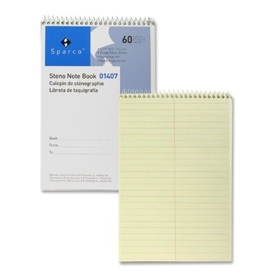 """Sparco Products Steno Notebook, Gregg Ruled, 60 Sheets, 6""""x9"""", Green"""
