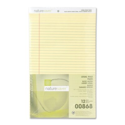 """Nature Saver Recycled Pad, Legal Ruled, 8-1/2""""x14"""", 50 Sheets, Canary"""