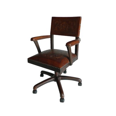 Colonial Mid-Back Leather Office Chair by New World Trading