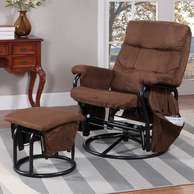 InRoom Designs Reclining Glider and Ottoman and Ottoman