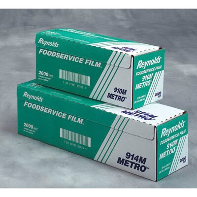 """Reynolds Food Packaging 12"""" Metro Light-Duty PVC Film Roll with Cutter Box in Clear"""