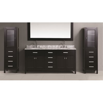 "London 108"" Double Bathroom Vanity Set with Mirror Product Photo"