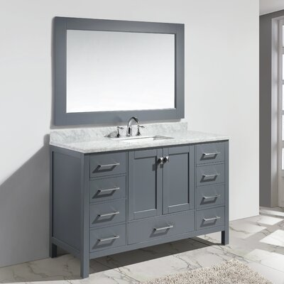 "London 54"" Single Sink Vanity Set with Mirror Product Photo"