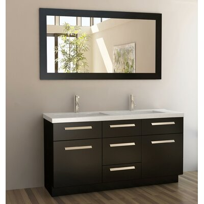 "Design Element Moscony 60"" Double Bathroom Vanity Set with Mirror"