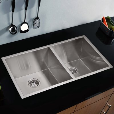 """Water Creation SS-U-3320A 33"""" X 20"""" Zero Radius 60/40 Double Bowl Stainless Steel Hand Made Undermount Kitchen Sink Product Photo"""