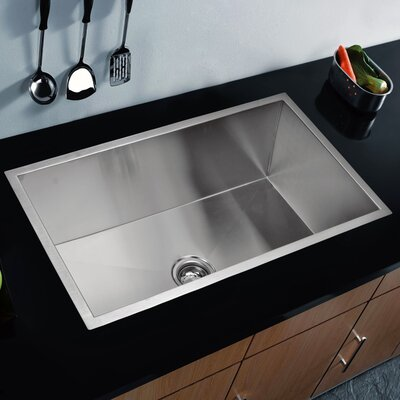 "Water Creation SS-U-3319A 33"" X 19"" Zero Radius Single Bowl Stainless Steel Hand Made Undermount Kitchen Sink Product Photo"