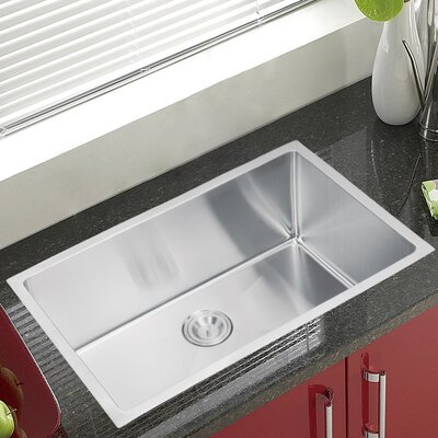 "Water Creation SS-U-3018B 30"" X 18"" Single Bowl Stainless Steel Hand Made Undermount Kitchen Sink With Coved Corners Product Photo"