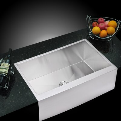 """Water Creation Water Creation SS-U-3321A 33"""" X 21"""" Zero Radius Single Bowl Stainless Steel Hand Made Apron Front Kitchen Sink"""