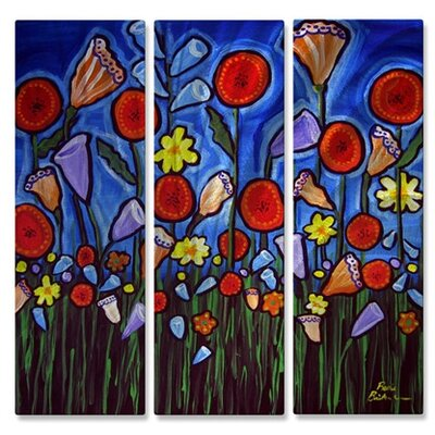 'Funky Flowers' by Renie Britenbucher 3 Piece Graphic Art Plaque Set by All My Walls ...