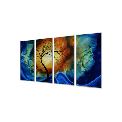 All My Walls 'Complimentary Growth' by Megan Duncanson 4 Piece Original Painting on Metal Plaque Set