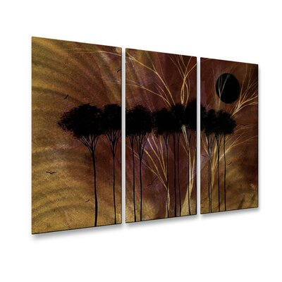 All My Walls 'Esoteric Season' by Megan Duncanson 3 Piece Original Painting on Metal Plaque Set