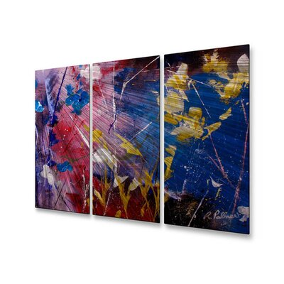 All My Walls 'The Season of Singing Has Come' by Ruth Palmer 3 Piece Original Painting on Metal Plaque Set