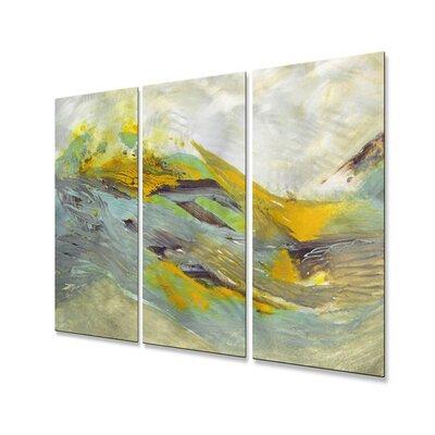 All My Walls 'Tsunami' by Mary Lea Bradley 3 Piece Original Painting on Metal Plaque Set