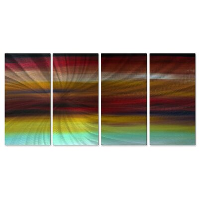 All My Walls 'Ocean Of Dreams I' by Megan Duncanson 4 Piece Original Painting on Metal Plaque Set