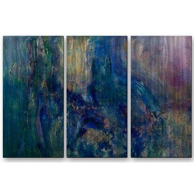 'Ocean Walk' by Laura Warburton 3 Piece Original Painting on Metal Plaque Set by All ...