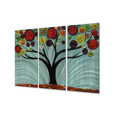 All My Walls 'Vivid Swirl Tree' by Danlye Jones 3 Piece Original Painting on Metal Plaque Set