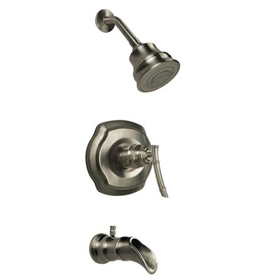 Bamboo Pressure Balance Tub and Shower Faucet Trim with Lever Handle Product Photo