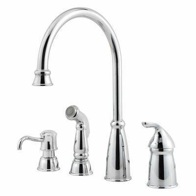Avalon Single Handle Deck Mounted Kitchen Faucet with Soap Lotion Dispenser and Side Spray Product Photo
