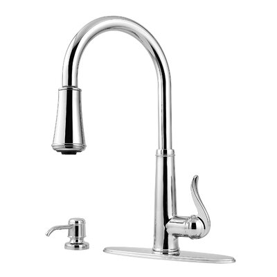 Ashfield Single Handles Deck Mounted Kitchen Faucet with Soap Dispenser by Pfister