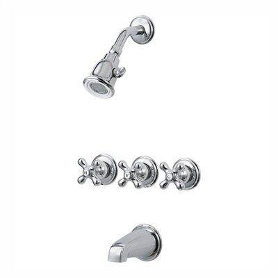 Pfister Tub & Shower Faucet with Metal Cross Handles Product Photo
