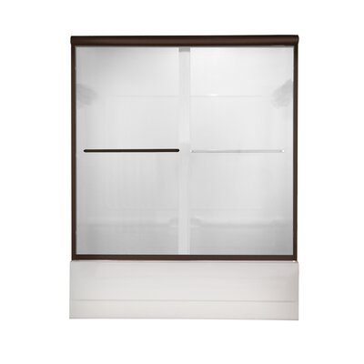 """Euro 58"""" x 56"""" Sliding Frameless Bath Door with Clear Glass Product Photo"""
