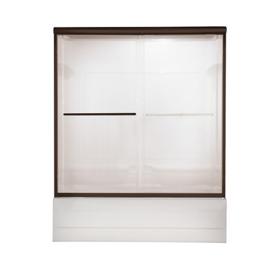 "Euro 57"" x 60"" Sliding Frameless Tub Door with Bistro Glass Product Photo"